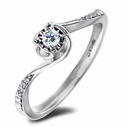 10K White Gold Canadian Diamond Wave Ring