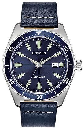 Citizen Men's Eco-Drive Brycen Blue Leather Strap Watch | AW1591-01L