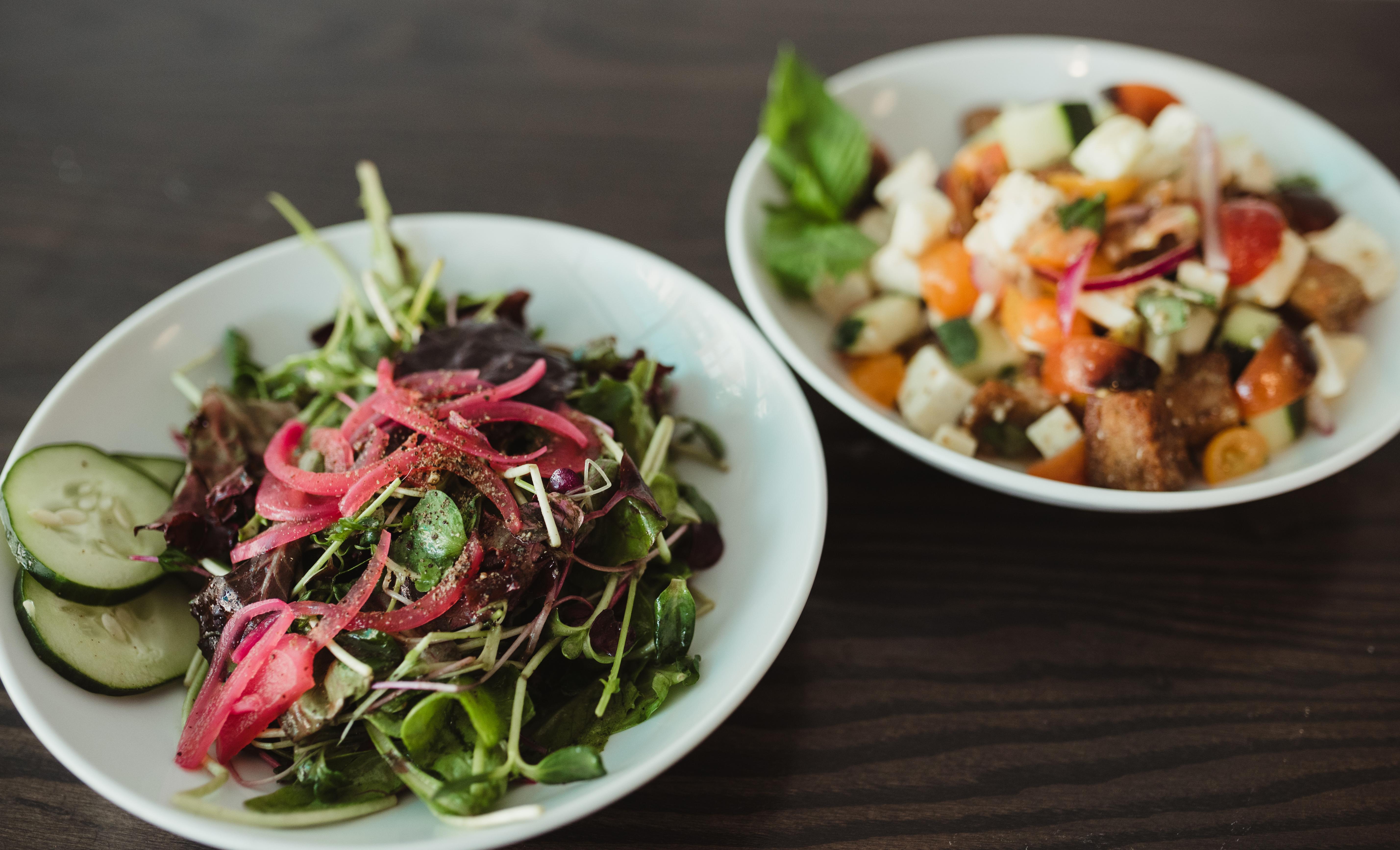 Fresh Greens and Panzanella Salad