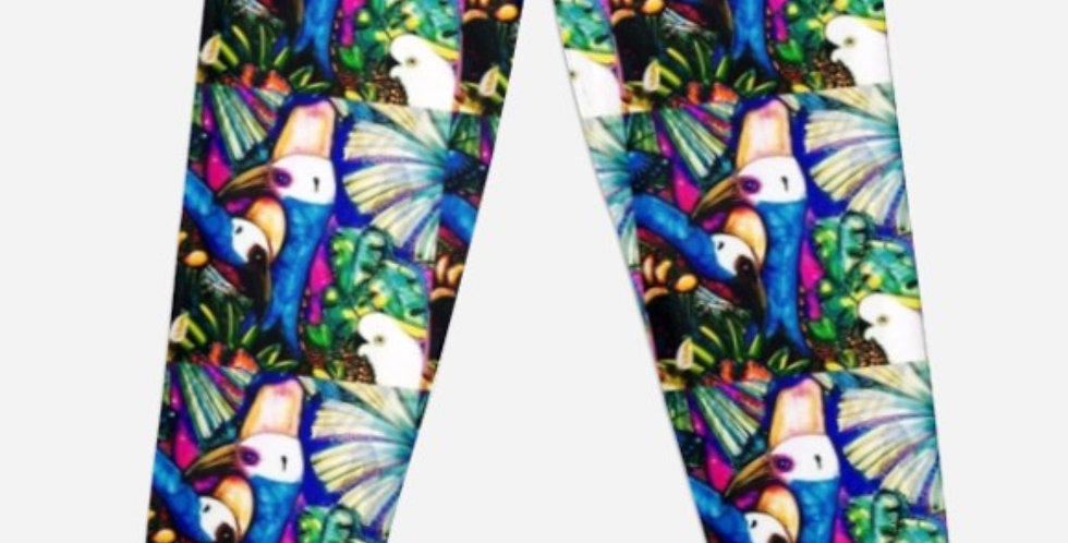 cassowary lycra leggings, XXS to XL , available through my Redbubble link.