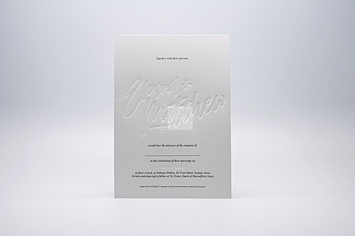 1 Card Invitation With Debossed Names (Large)