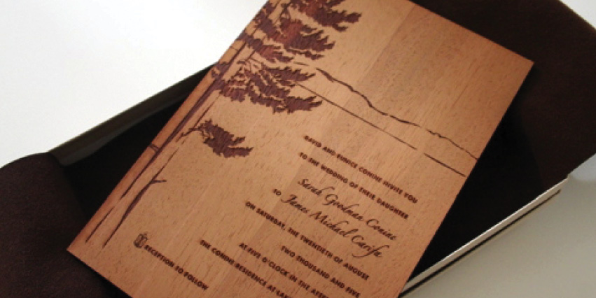 Invite printed on wood