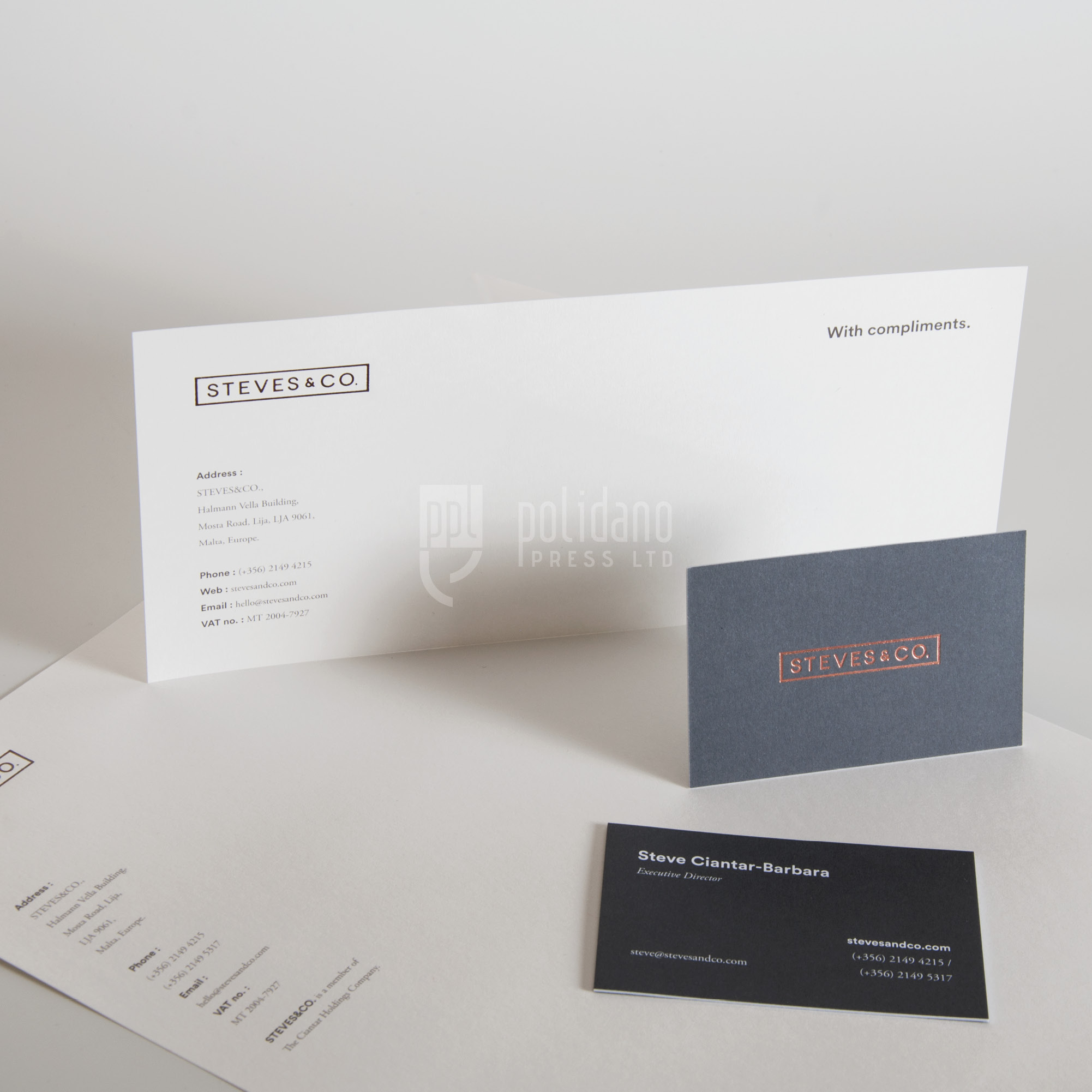 Steves & Co stationery