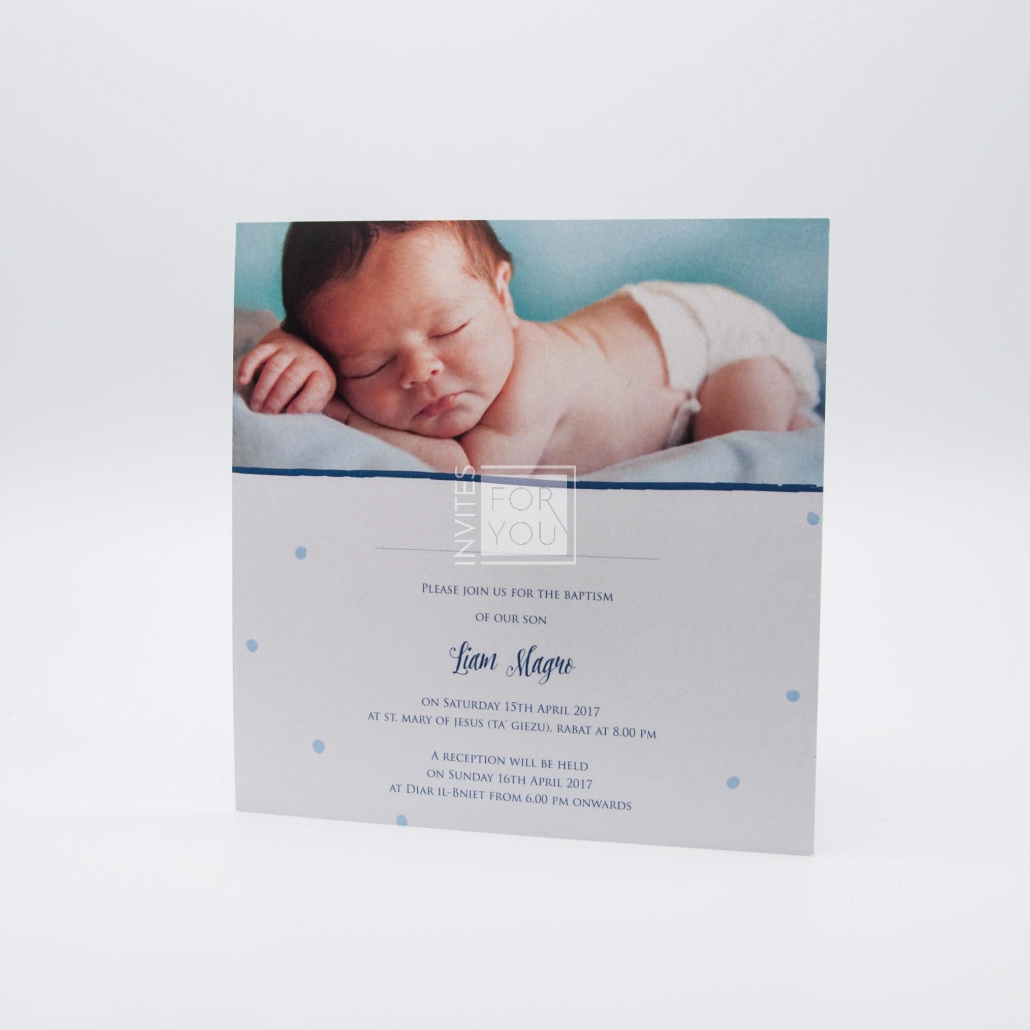 Baby boy photo invite