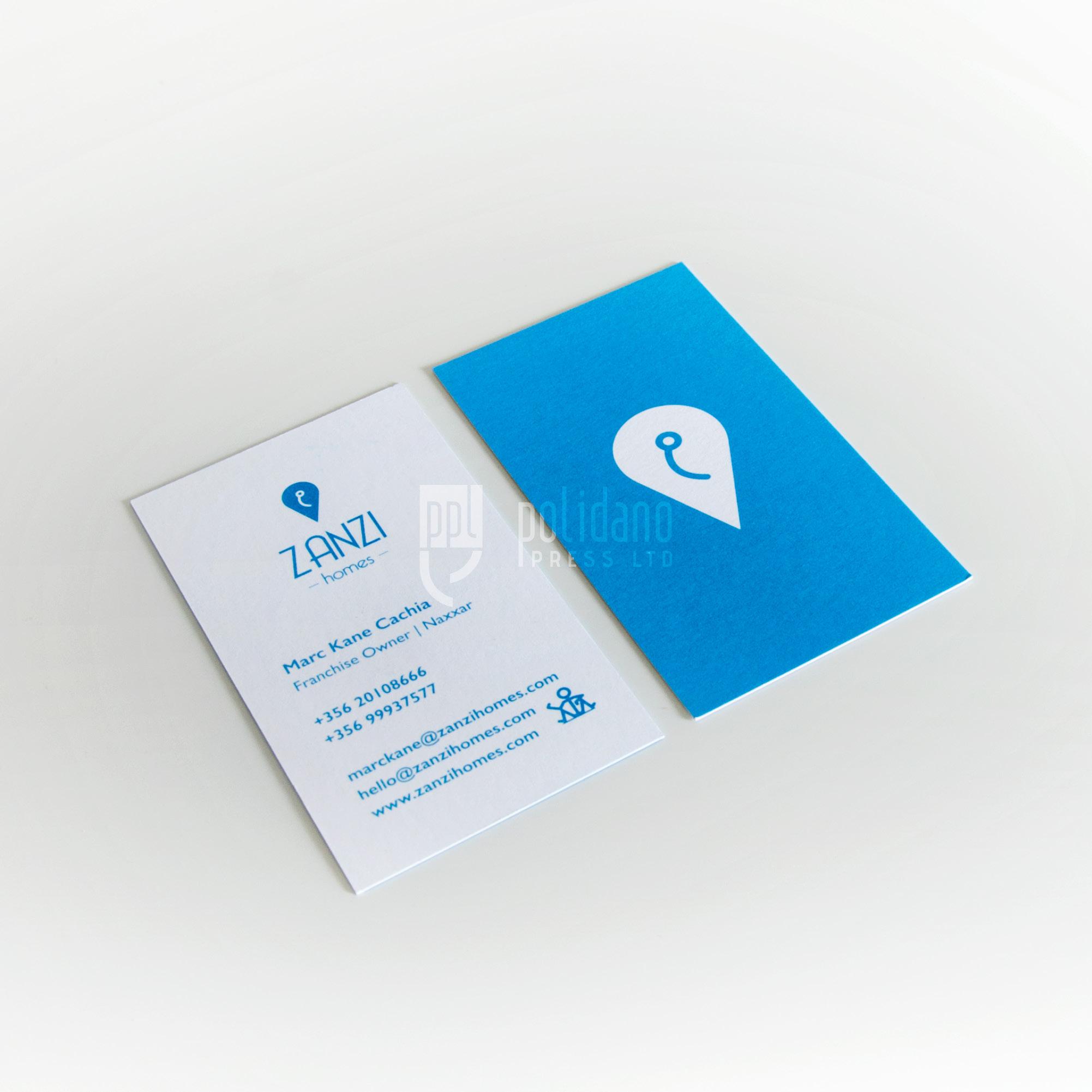 Zanzi Homes business cards
