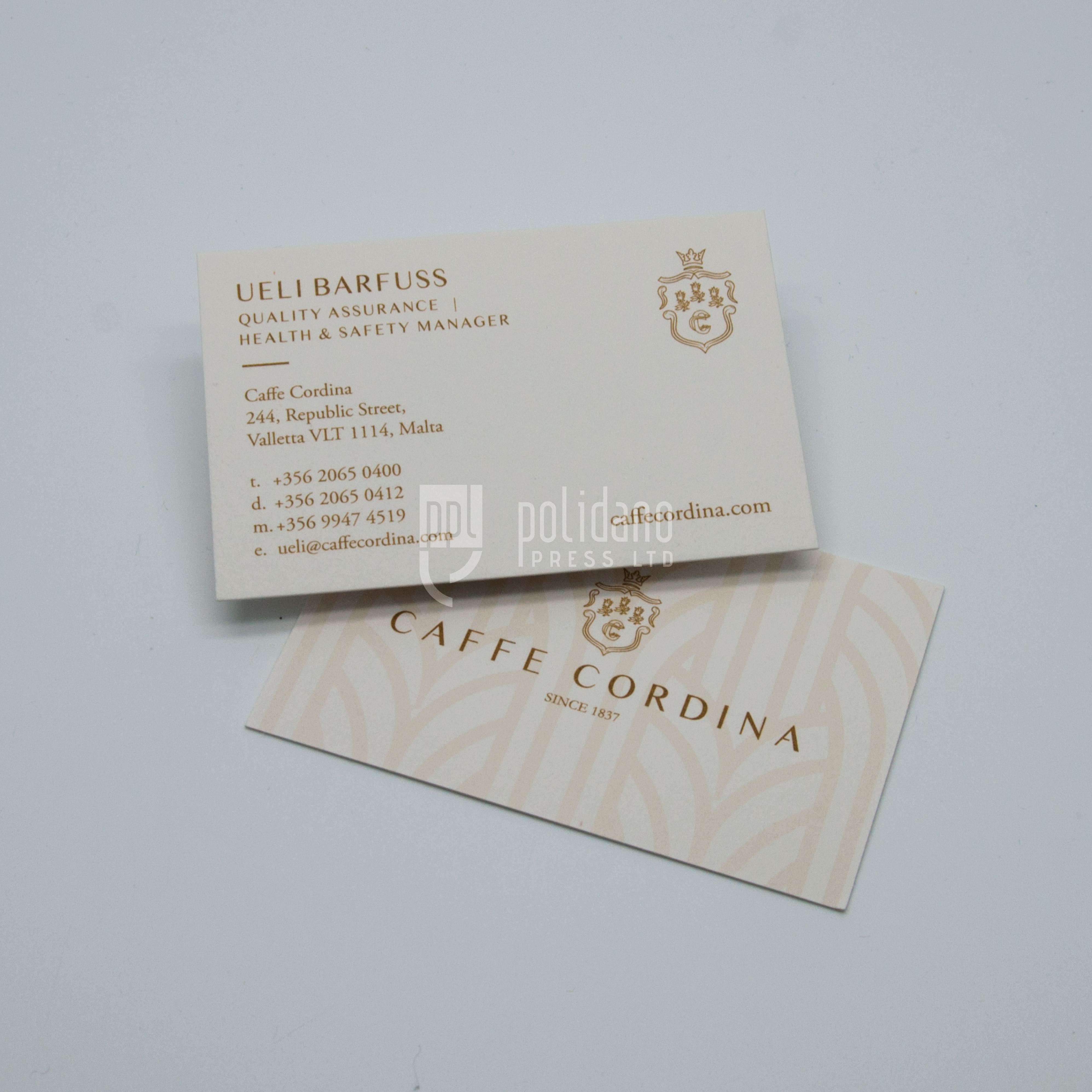 Cafe Cordina Business Cards