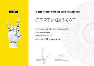 Сертификат о прохождении интенсива SEO-п