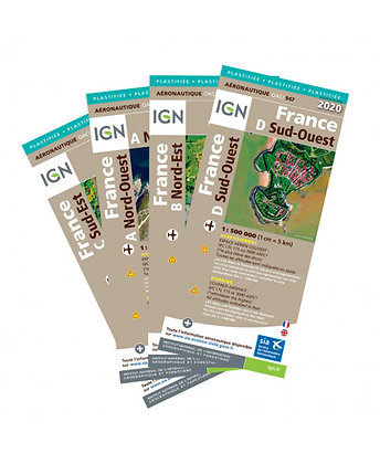 PACK 4 cartes PAPIER Oaci IGN 1/500000