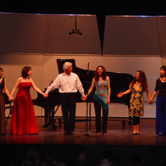 Curtain calls for Ian Krouse's 50th Birthday concert at UCLA. From left to right: Maryanne Kim, Jessica Rivera, Ian Krouse, Lindsey Deutsch, Marcia Dickstein, Gloria Cheng, Angela Weigan, Peter Yates, David Walter, 2007.