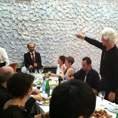 Ian Krouse toasting Stepan Rostomyan in Yerevan, Armenia after conducting a performance at the Katchaturian Concert Hall (2011) Dilijan on Tour with soprano Tony Arnold and bassist David Parmeter, and Michele Zukovsky