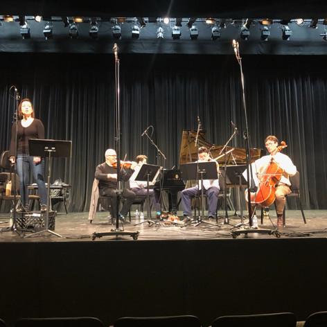 Anastasia Petanova (flute), Movses Pogossian (violin), Che-Yen Chen (viola), Antonio Lysy (cello), David Kaplan (piano) record 'Río de Llantos' at UCLA, 2019.