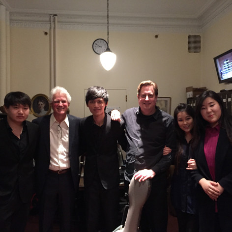 with Jason Vieaux at the Curtis Institute following his performance of Music in Four Sharps, 2016. [Pictured: Alice Byol Kim, violin, Hsuan-Hao Hsu, violin, Kunbo Xu, viola, Sang-Eun Lee, cello.]
