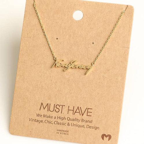 NJ Script Necklace
