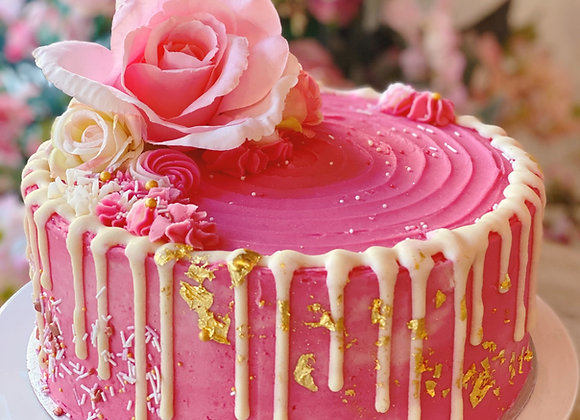 Pink & Gold Leaf Drip Cake Topped With a Rose