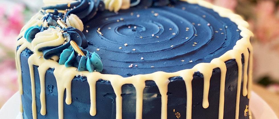 Navy & Gold Leaf Drip Cake