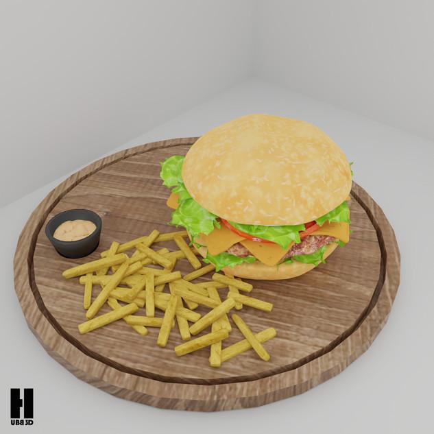 3D Hamburger Animasyonu