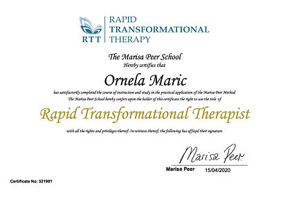 Ornela Maric -  RTT Therapist Certificat