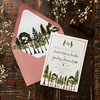 Forest Theme Main Invitation wth Dusty Rose Envelope