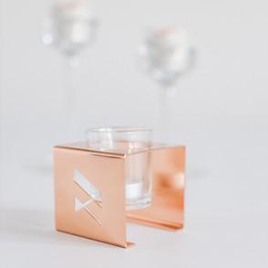 Metal candle holder.