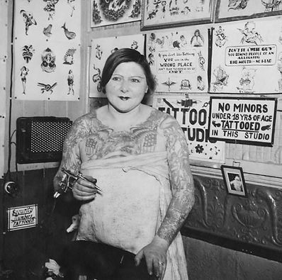 Mildred Hull, female tattooer, NYC, tattoo,