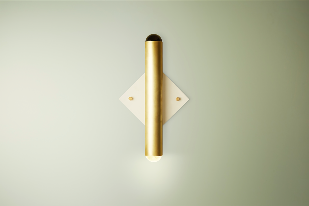 Surveilance Wall Sconce, Blonde Brass and Matte White