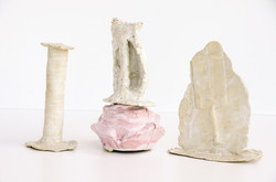 white clay, slip casting and hand buildi