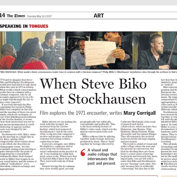 Philip Miller's Stockhausen is one of the best works I have seen in SA this year