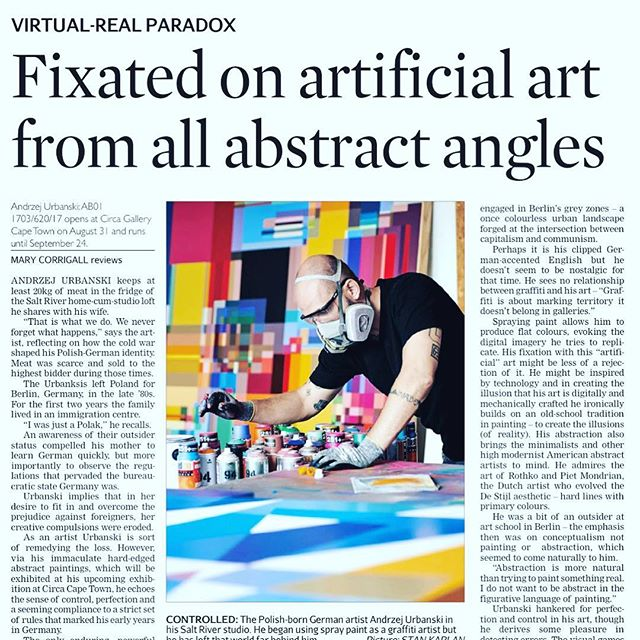 Ahead of _a_urbanski upcoming exhibition _circacapetown I chatted to the artist about how his hard edge abstract art relates to the friction