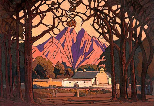 'Farm Jonkershoek with Twin Peaks Beyond, Stellenbosch' by Pierneef