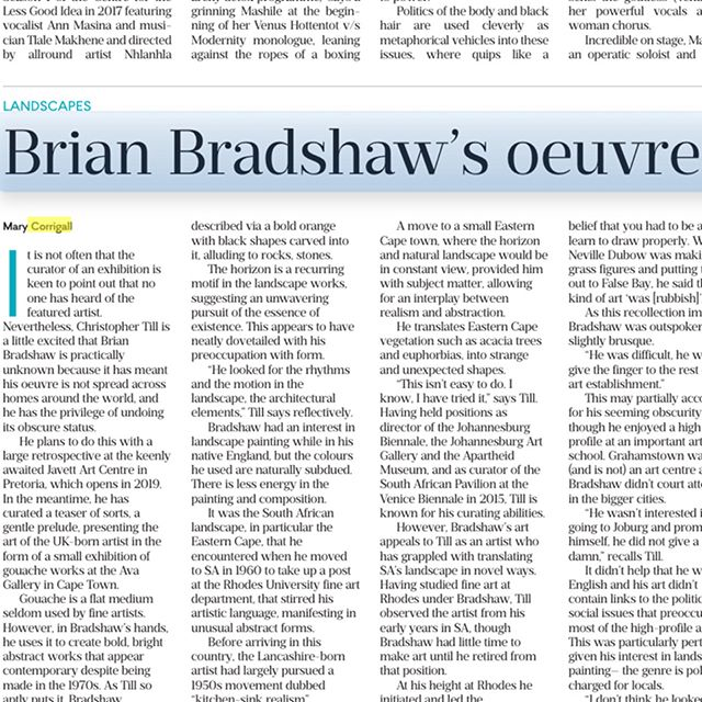 No one knows Brian Bradshaw. Christopher Till's exhibition _avagallery