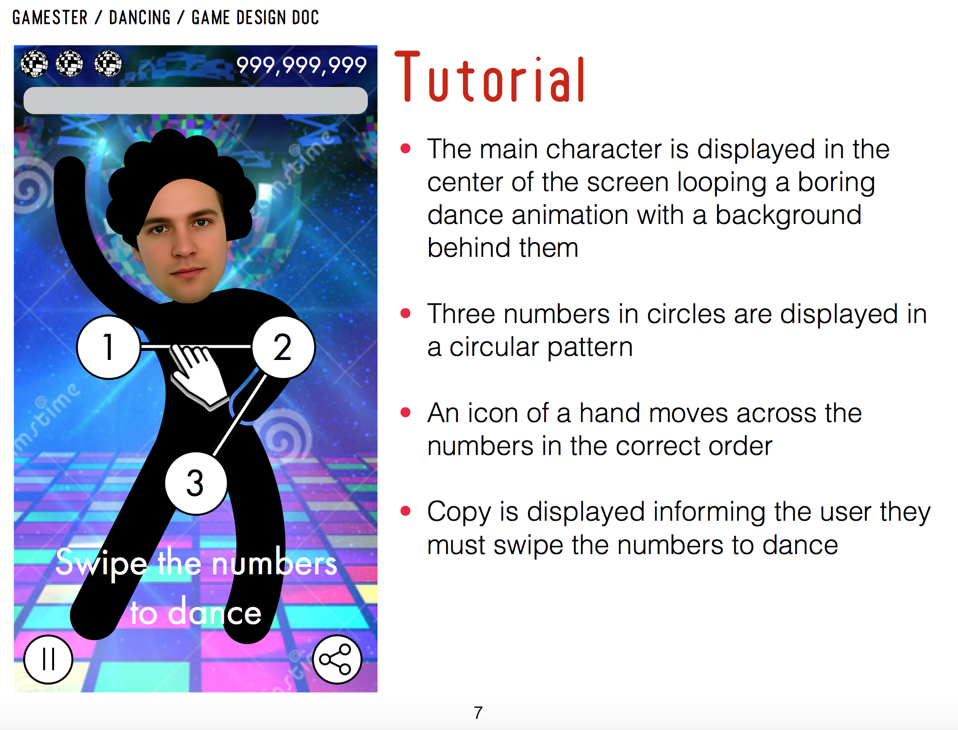 Dancing Game Functionality Specs