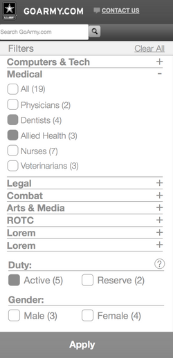Wireframe Mobile Filters