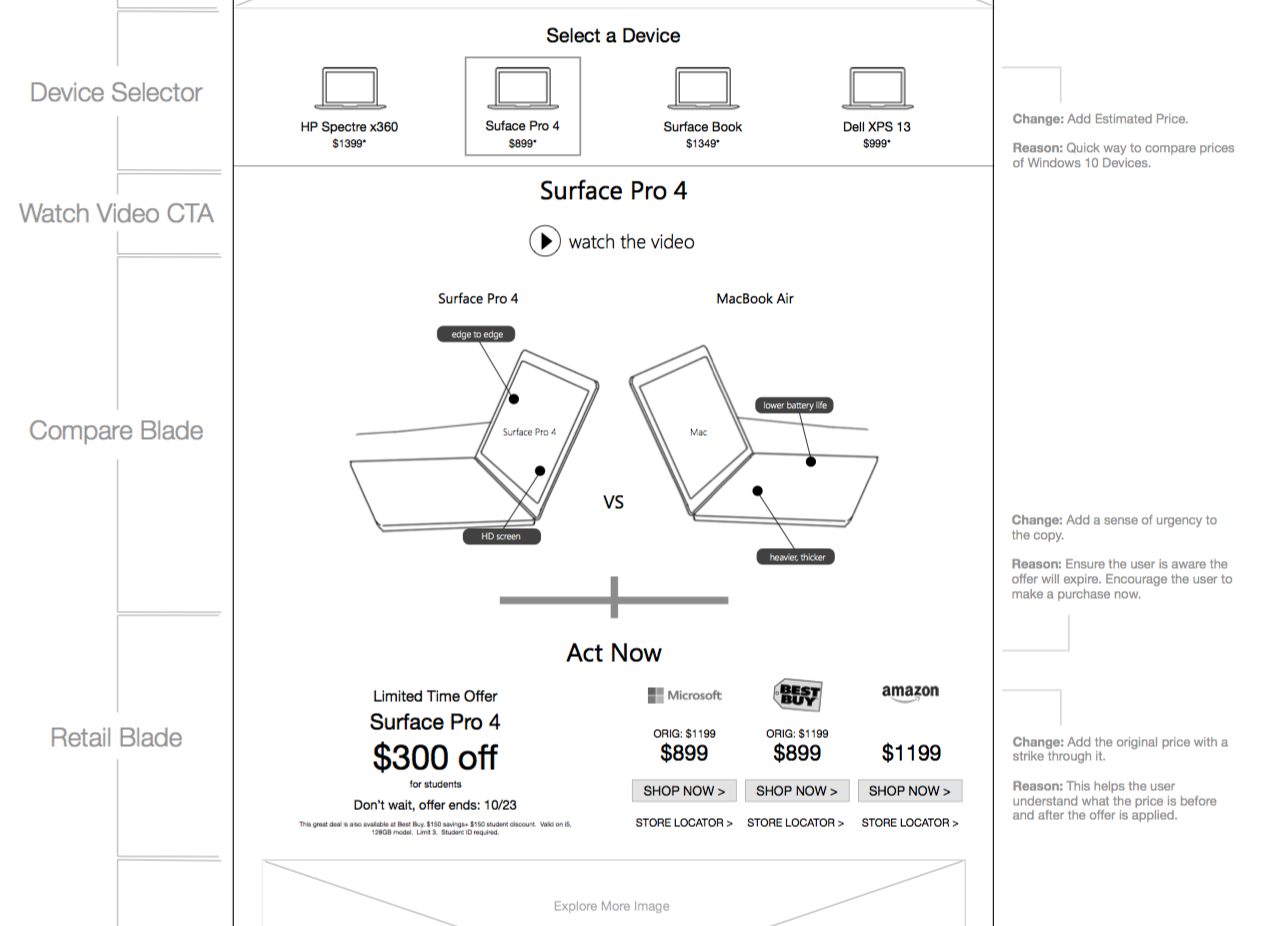 Desktop Wireframe Option 1