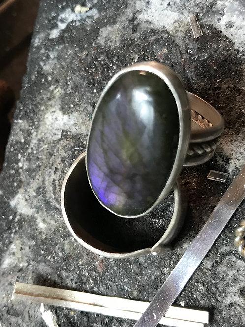 Purple Labradorite Ring