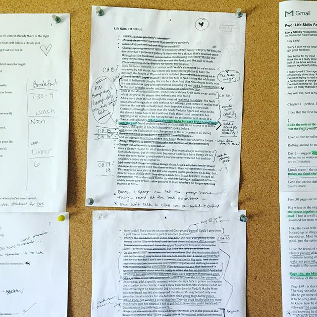 this is my list of revisions notes with notes and lines crossed out