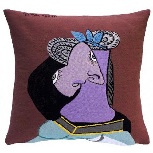Coussin Le chapeau de paille au feuillage bleu - Picasso - Jules Pansu