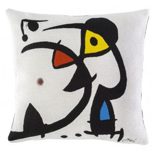 Coussin Deux personnages hantés par un oiseau, 45cm - Miro - Jules Pansu