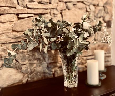 Blumendekoration für Sektempfang