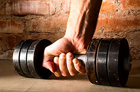 the dumbbell represents strength training