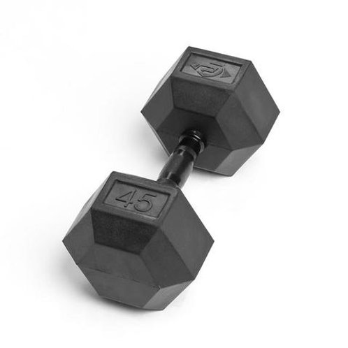 45LB VIRGIN RUBBER HEX DUMBBELL NO ODOR SDVR-45
