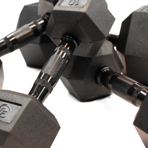 80-100 Rubber Hex Dumbbells Set (5 Pairs)