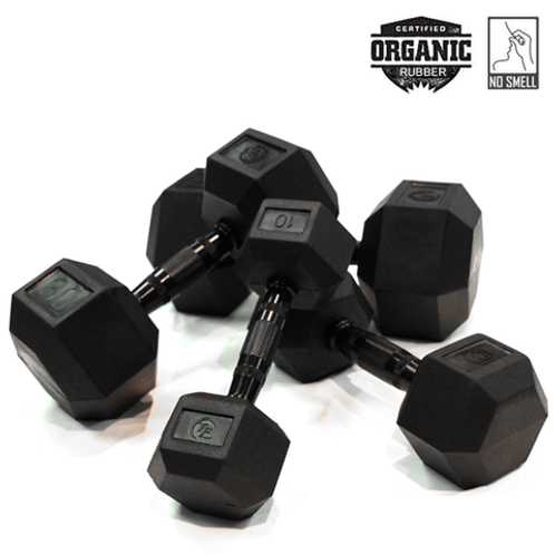 5lbs - 25lbs Rubber Hex Dumbbell Set (5 Pairs)