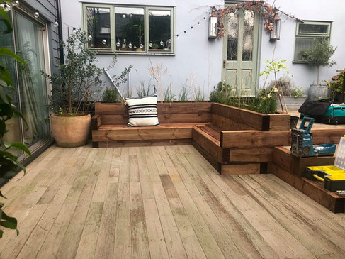 Sleeper Bench and Reclaimed Decking