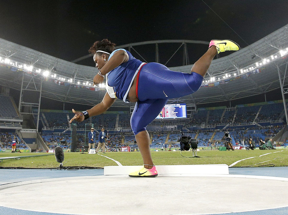 Michelle Carter competing in Shot Put