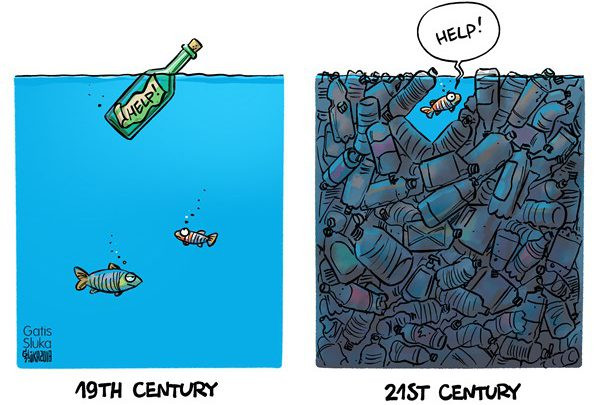 """Cartoon: Side one - Two fish looking at a message in a bottle saying help; Side two - one fish trapped among a sea of plastic bottles with speech bubble saying """"Help!"""""""
