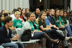 Audience listening to Rosario Dawson at Rider University