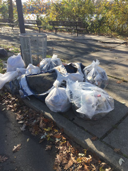 A large pile of garbage bags full of waste removed during the Abbott Marsh Clean-up