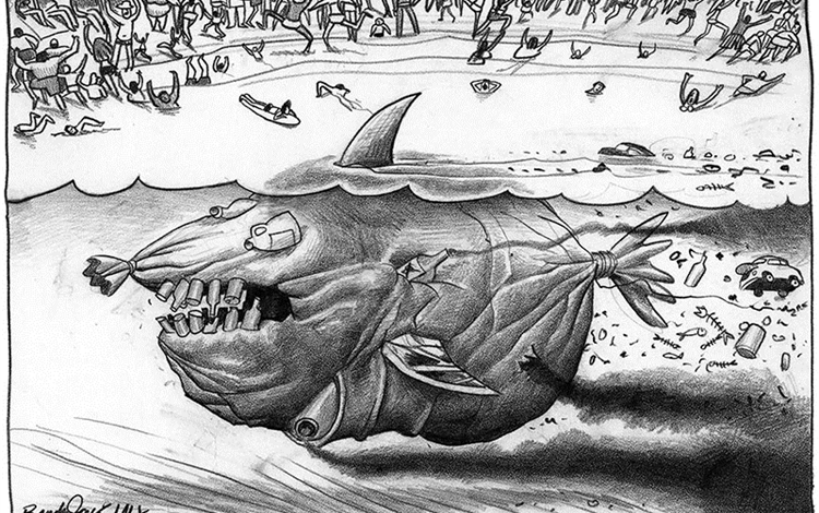 Black and white cartoon showing a shark made out of garbage and oil lurking at a beach with many people swimming.