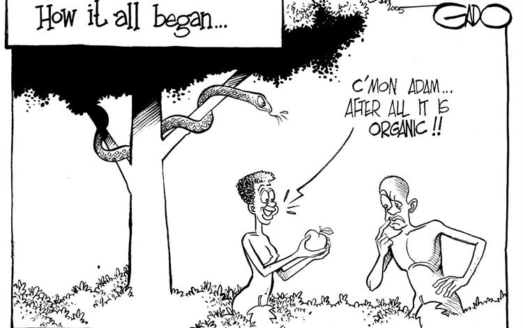 Adam and Eve in the Garden of Eden eating organic forbidden fruit