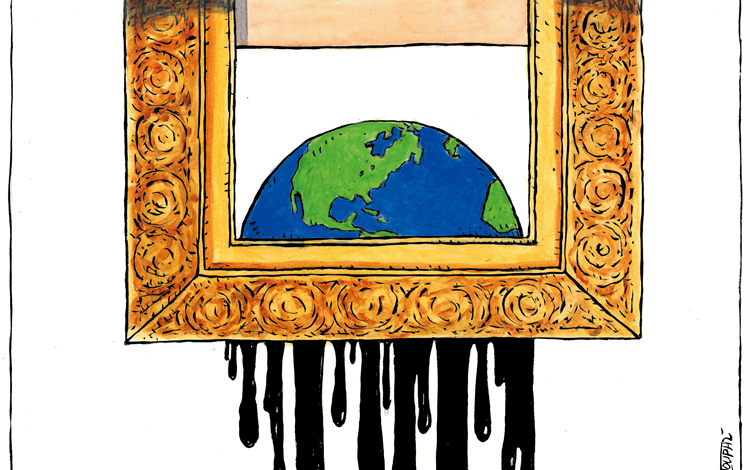 Painting of the Earth Shredded in Homage to Bangsy's Girl with a Balloon